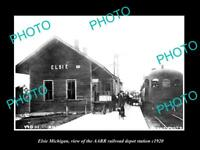 OLD LARGE HISTORIC PHOTO OF ELSIE MICHIGAN THE RAILROAD DEPOT STATION c1920