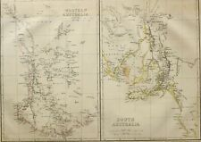 1865 ANTIQUE MAP WESTERN & SOUTHERN AUSTRALIA PERTH STIRLING VICTORIA KANGAROO