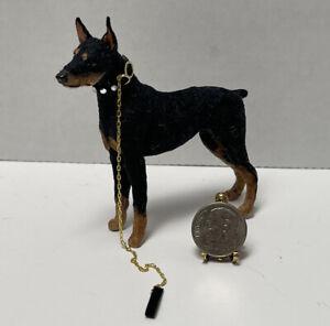 Vintage Artisan FINE Sculpted Flocked Doberman Pinscher Dollhouse Miniature 1:12