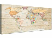 Large Map of The World Canvas Art Print - Colourful Cream - 120cm Wide - 1314