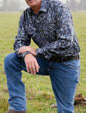 MENS BRIGALOW LS WESTERN STYLE PAISLEY SHIRT100% COTTON SILVER GREY SIZES S-4XL
