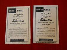 Vintage Silvertone 1483 Bass Guitar Amplifier Instruction Manual Schematic 60's