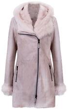 Women's Off-White Frost Grey Hooded Suede Merino Shearling Sheepskin Jacket