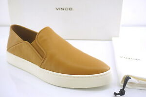 Vince Wheat Brown Leather Garvey Slip-on Sneaker Size 6.5 NIB Collapsible-back