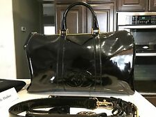 100% AUTH CHANEL BOSTON PATENT BAG KEEPALL TRAVEL LUGGAGE  BLACK GOLD HW CARRYON