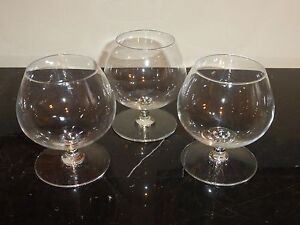 "Val St. Lambert Vintage Set of 3 Cognac Glasses 4 1/8"" H"
