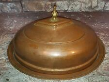 Antique Vintage Hammered Copper Meat Serving Dish With Cover Table Centre Piece
