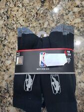 Icebrands Offiziell Schwarz NBA Logo HERREN SCHWARZ Crew Socken 6 Paar Groß Nip