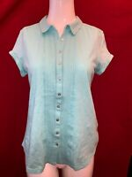 WHITE STUFF Women's Clearwater 100% Cotton Short Sleeve Blouse Shirt UK 10