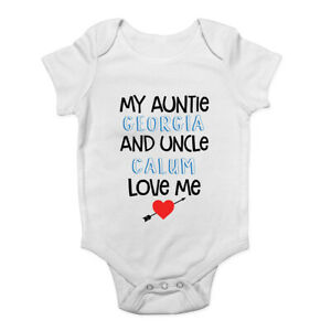 Personalised My Uncle And Auntie Loves Me - Blue Baby Grow Vest Bodysuit