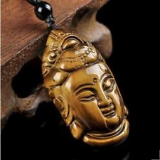 Tiger Eye Guanyin Buddha Pendant Necklace/Velvet Pouch-Hand Carved/FREE P&P