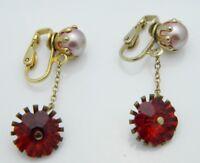 Pink Faux Pearl Red Rivoli Rhinestone Gold Tone Dangle Clip-On Earrings Vintage