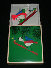 Vtg Hallmark Ornament 1984 SNOOPY AND WOODSTOCK Snow Skiing Winter Sports Boxed