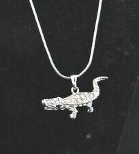 Alligator Gator Necklace silver tone Clear Crystal Rhinestones Lobster clasp