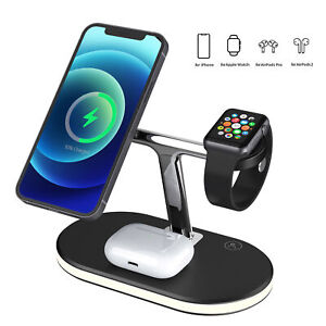3in1 15W Magnetic Wireless Charger Dock For Apple AirPods iWatch iPhone 12Series