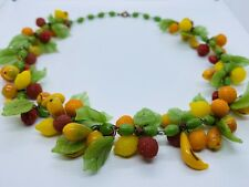 Miriam Haskell 1930's Art Deco Tutti Frutti Poured Glass Fruit Strand Necklace