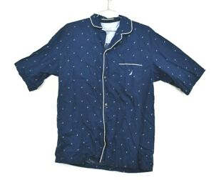 Nautica Mens Sleepwear Sailboat Button Front Shirt Cotton Nightwear Size XL