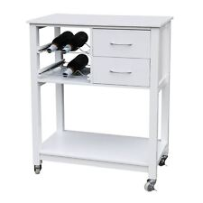 Trolley DE COCINA Blanco Mdf Top & Cajón Movible Con 6 botles De Rack Y Ruedas