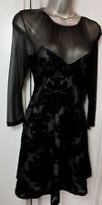 Stunning NEW Black & Nude Embossed Floral Party Skater Dress 12 BNWT 'Atmosphere