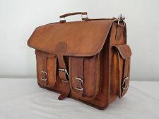 Vintage Leather Briefcase Messenger Bag 15.6 Inch Laptop Satchel Shoulder Bag