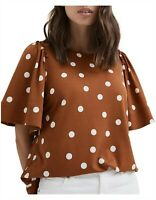 [ WITCHERY ] Womens Frill sleeves Polka Dot Tee / Top  | Size M or AU 12 / US 8