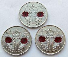 2010 Canada 25 cent Quarter - Poppy - Lot of 3