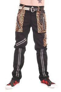 Tiger of London Zip Bondage Trousers in Black Cotton with Leopard Trim. Punk Roc
