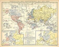 Alte historische Landkarte 1895: Verteilung der Staatsformen auf der Erde (B14)