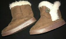 girls Dark Brown Winter Boots Faux Fur Trim Lined button on sides size 10 cute @