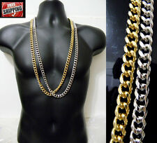 14K Gold Finish Cuban Link Chain Oval Long Necklace Hip Hop Iced Out Heavy New