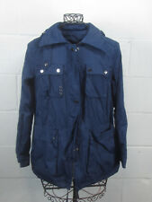 Zara Woman Blue Parka Jacket Coat with Hidden Hood in Collar Size 5