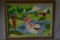 "Crewel Work Woman Man Row Boat Pond Vintage Finished Needlepoint Framed 1981 19"""