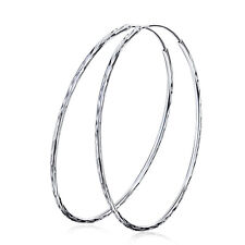Hoop Earring Dangle1.5mm Thin Statement 2.4''/60Mm Pure 925 Sterling Silver