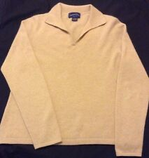 Lovely CHARTER CLUB 100% CASHMERE v-neck SWEATER collar CAMEL COLOUR PETITE MED