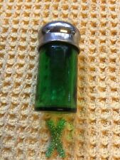 More details for antique green glass smelling salts bottle with silver metal lid