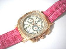 Bling Bling Pink Leather Band Ladies Watch Item 4395