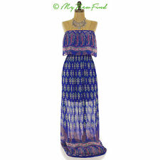 SOPRANO RUFFLE TUBE MAXI BOHO FLORAL BLUE PINK HALF SHEER DRESS JRS XS B36