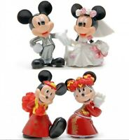 1 Set of 4 Cake Top Decor Disney Figure Wedding Mickey Minnie Ornament Toy 6-7cm