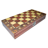 3 dans 1 Jeu d'échecs Échecs Dames Backgammon Pliant En Bois Échiquier 24x24c