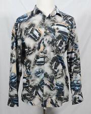 haupt Germany mens shirt size XL 43/44 17 1/2 car print long sleeve 100% cotton