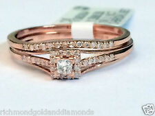 Rose Gold Halo Style Princess Cut Diamond Wedding Bridal Set Promise Ring Band