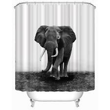 Polyester Printed Elephant Shower Curtain Fabric Bathroom Hooks Set Decor