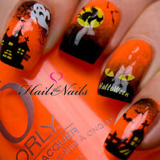 Halloween Nail Art Water Transfer Decal Wraps Bats Spider Ghost Haunted Y745