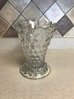 """Rare Vintage Fostoria American Large Swung Punch Vase 9"""" Tall Flared Top Clear"""