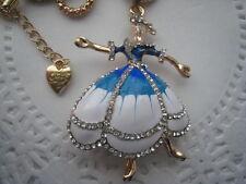 "BETSEY JOHNSON DANCING GIRL BLUE DRESS NECKLACE   26""  # 146"