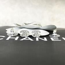 Chanel Earrings Mini CC Logo Silver Rhinestone 10V 0722