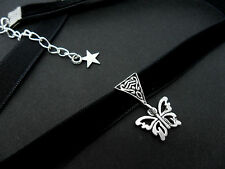 A LADIES GIRLS 10MM BLACK VELVET BUTTERFLY  CHARM CHOKER NECKLACE . NEW.