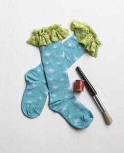 NEW Matilda Jane Paint By Numbers Blue Star Nova Lace Edged Socks XL X-Large