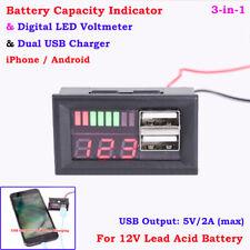Batteriekapazität Meter Anzeige Bleisäure USB Ladegerät 12V Praktisch Mode