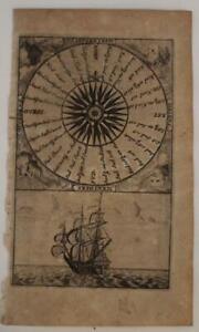 WIND ROSE 1715 WILLIAM DAMPIER UNUSUAL ANTIQUE ORIGINAL COPPER ENGRAVED MAP